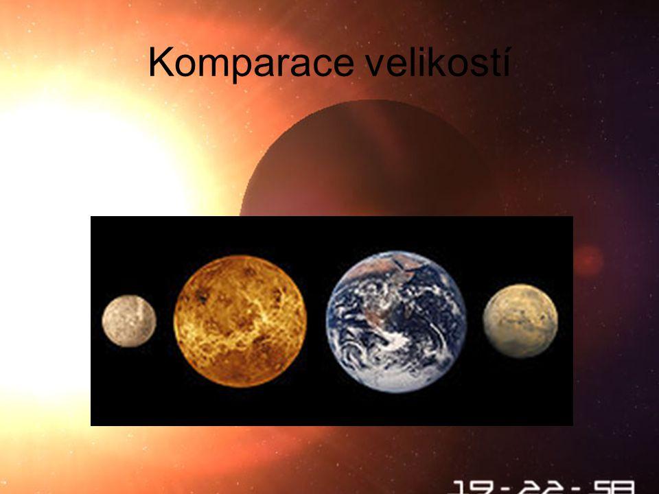 Charakteristiky Venuše je velmi podobná Zemi, co se týče fyzikálních rozměrů 4.8685 × 10 24 Kg (0,815 hmotnosti Země) Gravitační zrychlení 0,9 zemského Poloměr rovníku 6,051 Km (0,95 zemského) Hustota 5250 Kg/m 3 (5515 Kg/m 3 u Země)