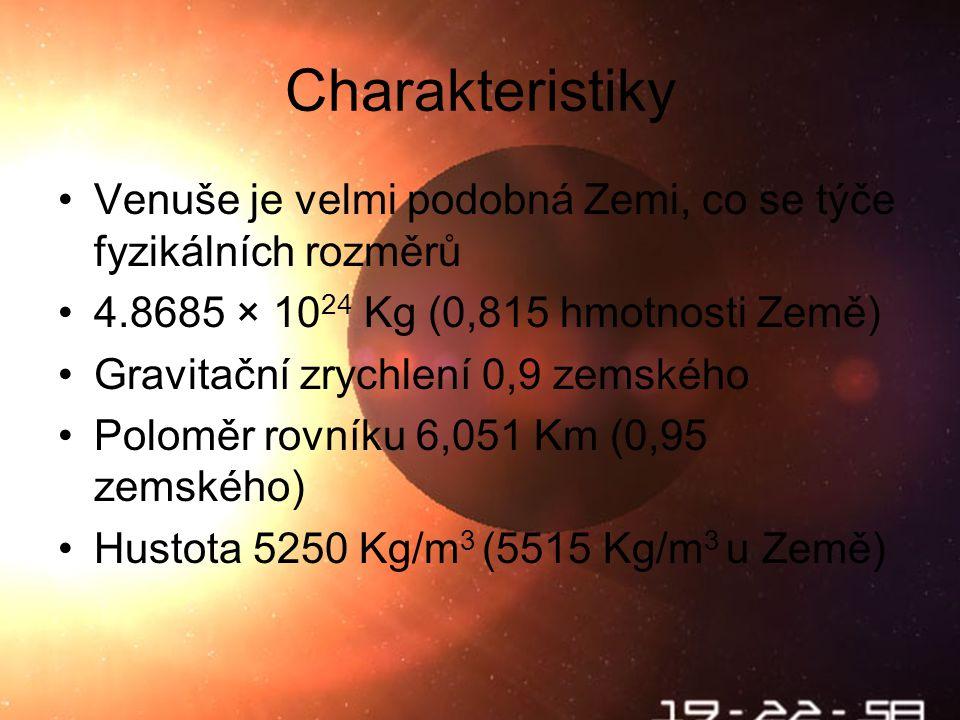 Na povrchu… Venuše je nesmírně nehostinným prostředím Teploty se pohybují okolo 480 o C Tlak je cca 95 krát silnější než na Velké Ohradě Na Venušin povrch dopadají ve formě deště kapičky kyseliny sÝrové