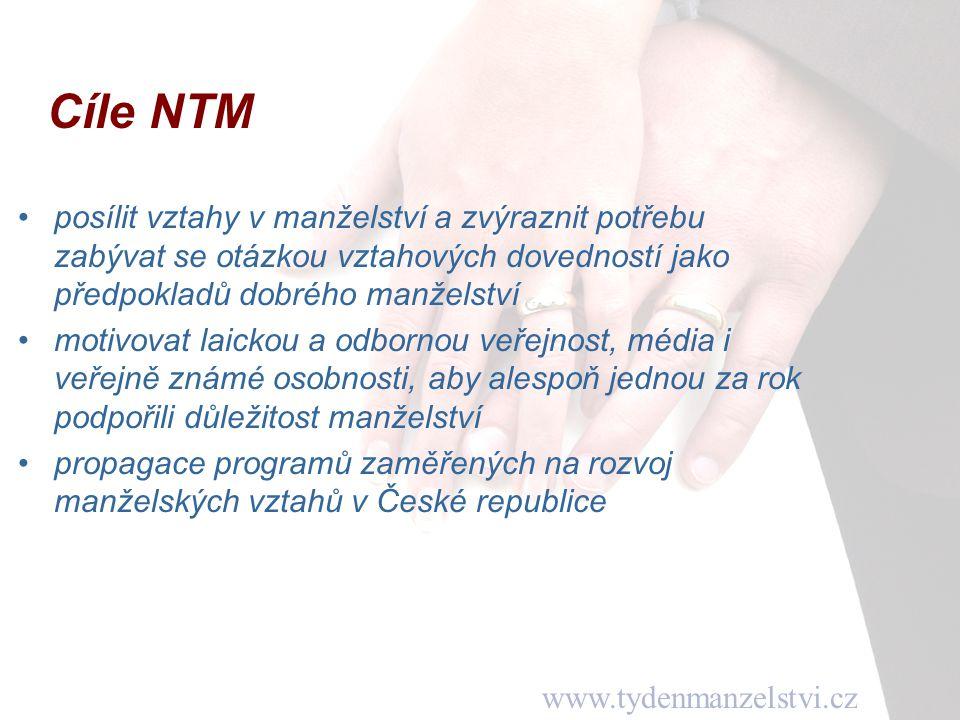 www.tydenmanzelstvi.cz Cíle NTM posílit vztahy v manželství a zvýraznit potřebu zabývat se otázkou vztahových dovedností jako předpokladů dobrého manž