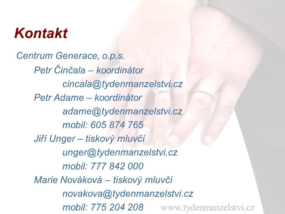 www.tydenmanzelstvi.cz Kontakt Centrum Generace, o.p.s.