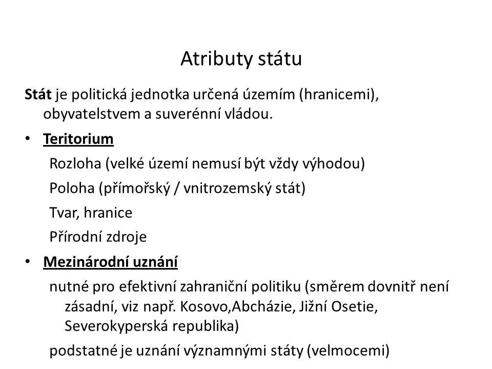Atributy státu Stát je politická jednotka určená územím (hranicemi), obyvatelstvem a suverénní vládou. Teritorium Rozloha (velké území nemusí být vždy