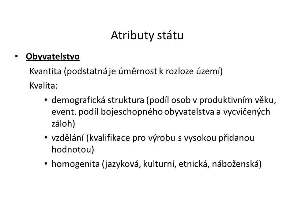 Atributy státu Obyvatelstvo Kvantita (podstatná je úměrnost k rozloze území) Kvalita: demografická struktura (podíl osob v produktivním věku, event.