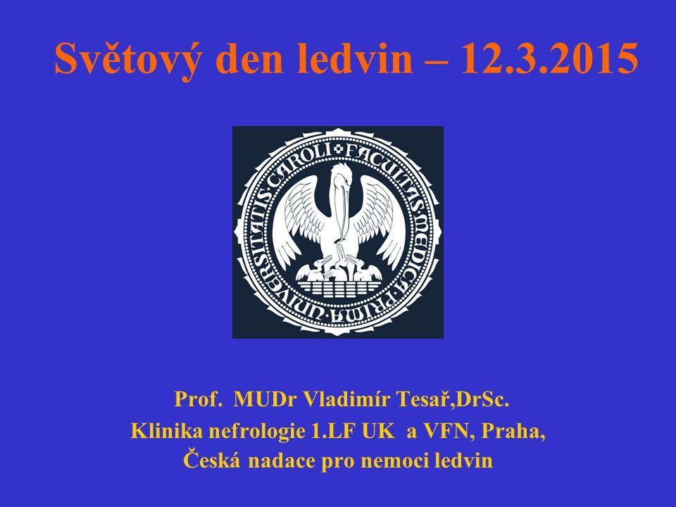 Světový den ledvin – 12.3.2015 Prof. MUDr Vladimír Tesař,DrSc. Klinika nefrologie 1.LF UK a VFN, Praha, Česká nadace pro nemoci ledvin