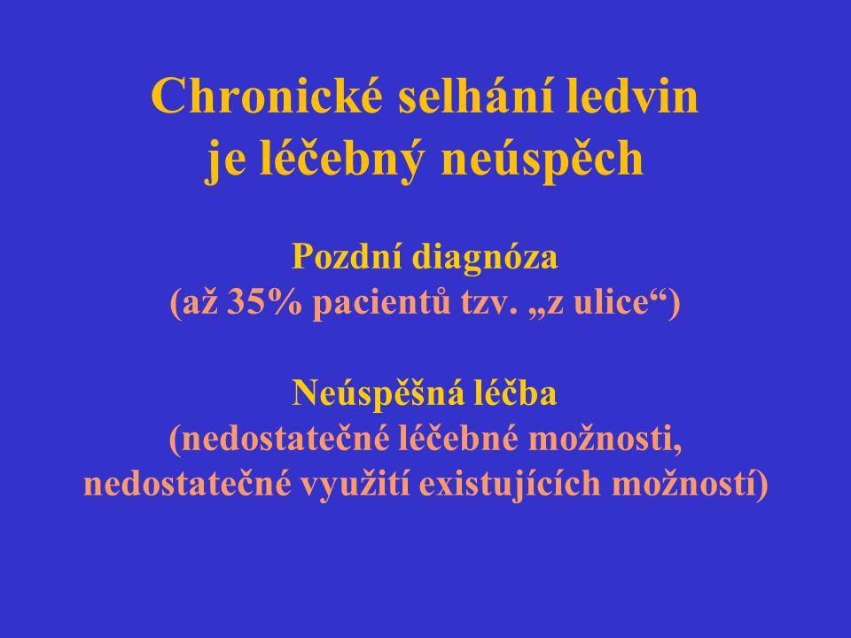"""Chronické selhání ledvin je léčebný neúspěch Pozdní diagnóza (až 35% pacientů tzv. """"z ulice"""") Neúspěšná léčba (nedostatečné léčebné možnosti, nedostat"""