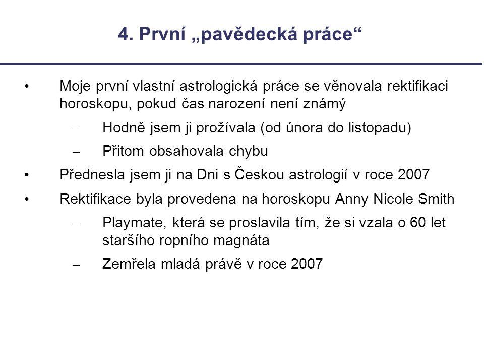 """4. První """"pavědecká práce"""" Moje první vlastní astrologická práce se věnovala rektifikaci horoskopu, pokud čas narození není známý – Hodně jsem ji prož"""