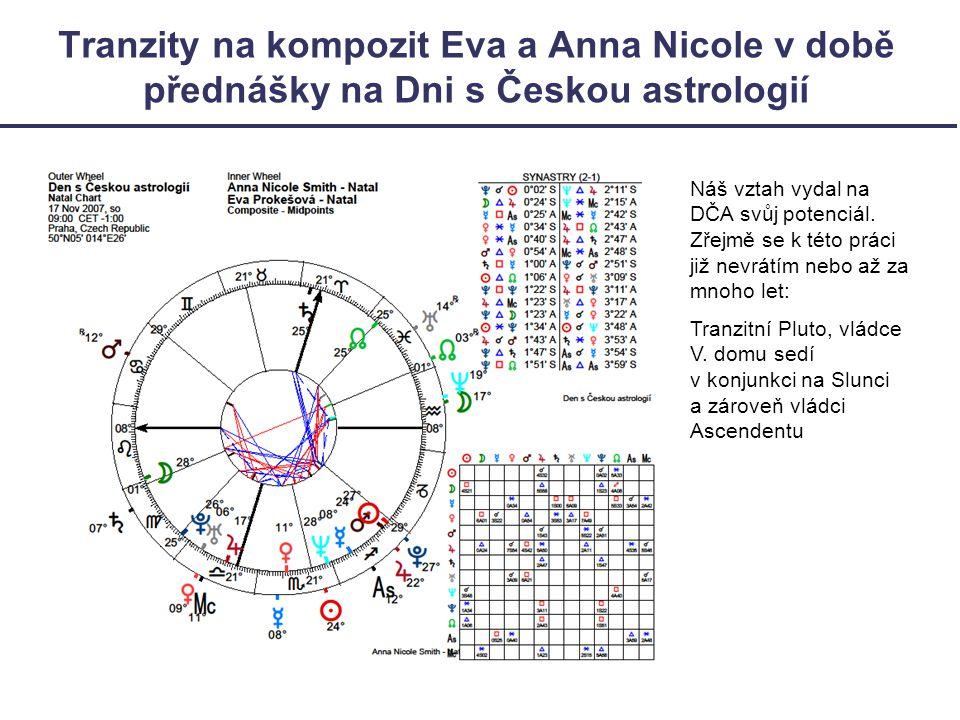 Tranzity na kompozit Eva a Anna Nicole v době přednášky na Dni s Českou astrologií Náš vztah vydal na DČA svůj potenciál.