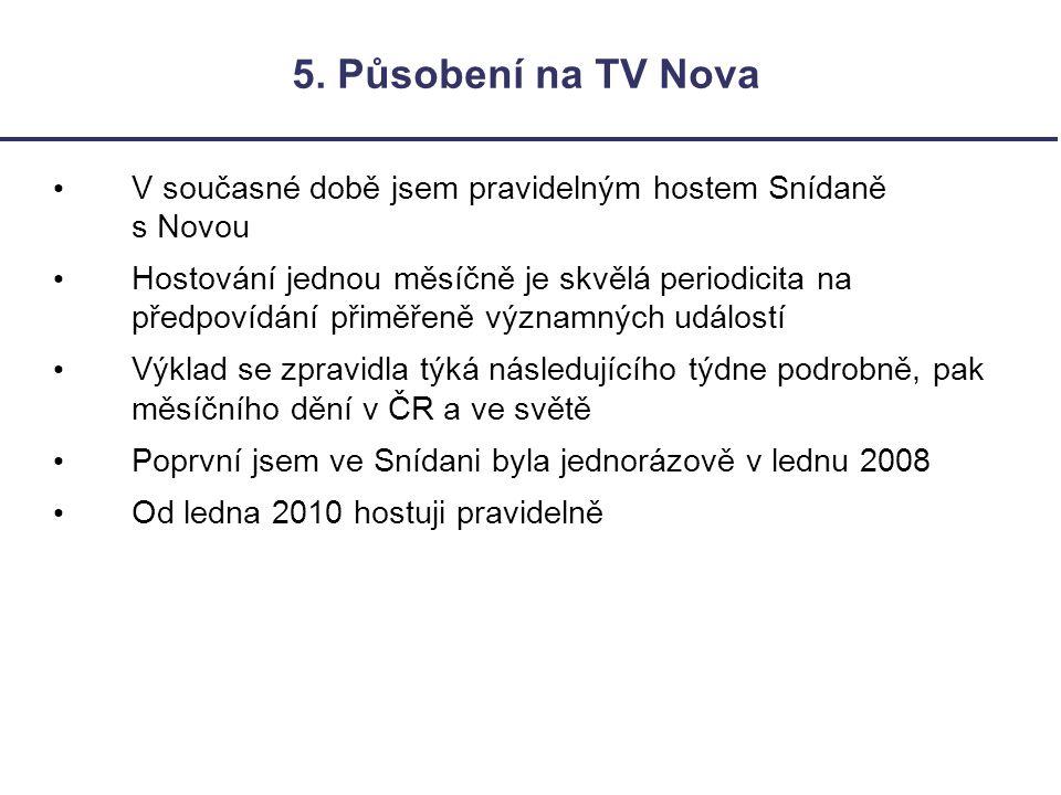 5. Působení na TV Nova V současné době jsem pravidelným hostem Snídaně s Novou Hostování jednou měsíčně je skvělá periodicita na předpovídání přiměřen
