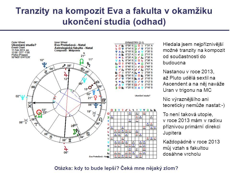 Tranzity na kompozit Eva a fakulta v okamžiku ukončení studia (odhad) Hledala jsem nejpříznivější možné tranzity na kompozit od součastnosti do budoucna Nastanou v roce 2013, až Pluto udělá sextil na Ascendent a na něj naváže Uran v trigonu na MC Nic výraznějšího ani teoreticky nemůže nastat:-) To není taková utopie, v roce 2013 mám v radixu příznivou primární direkci Jupitera Každopádně v roce 2013 můj vztah s fakultou dosáhne vrcholu Otázka: kdy to bude lepší.
