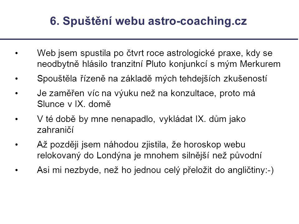 6. Spuštění webu astro-coaching.cz Web jsem spustila po čtvrt roce astrologické praxe, kdy se neodbytně hlásilo tranzitní Pluto konjunkcí s mým Merkur