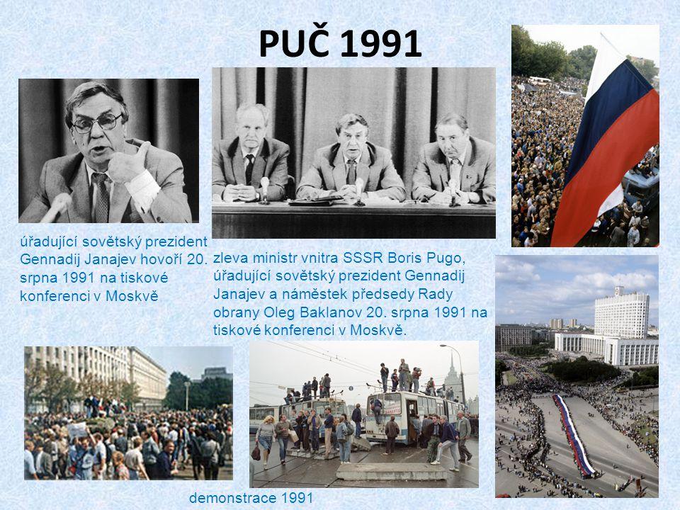 PUČ 1991 úřadující sovětský prezident Gennadij Janajev hovoří 20. srpna 1991 na tiskové konferenci v Moskvě zleva ministr vnitra SSSR Boris Pugo, úřad