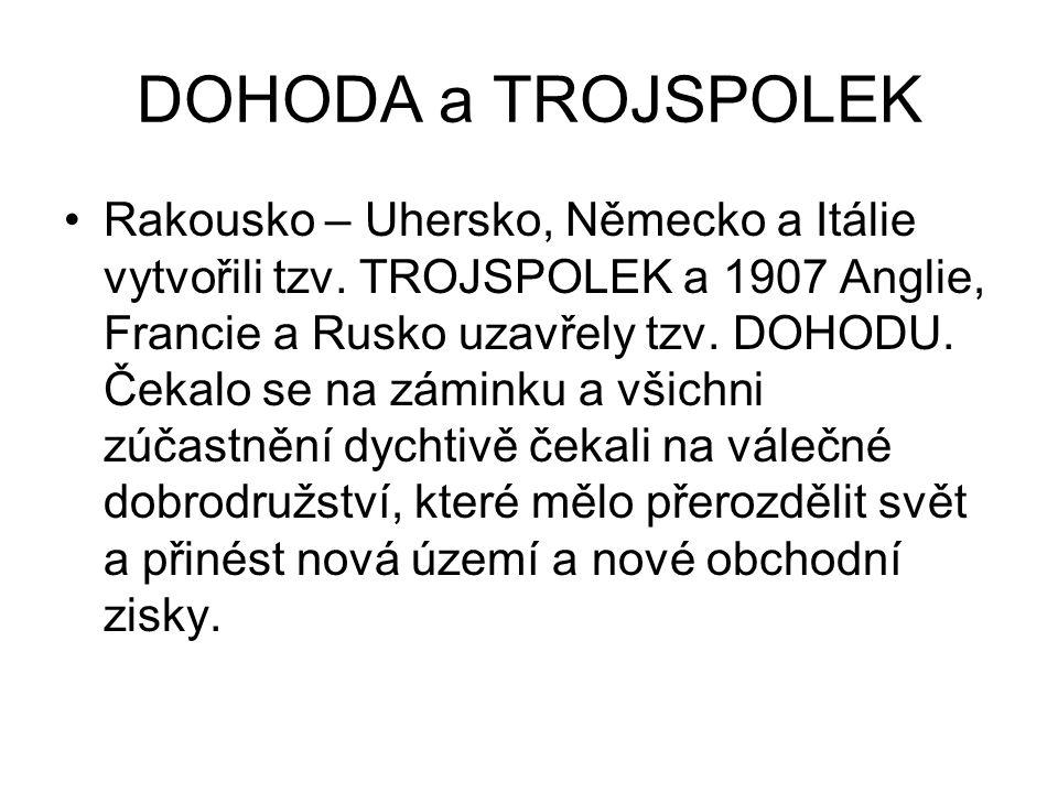 DOHODA a TROJSPOLEK Rakousko – Uhersko, Německo a Itálie vytvořili tzv. TROJSPOLEK a 1907 Anglie, Francie a Rusko uzavřely tzv. DOHODU. Čekalo se na z