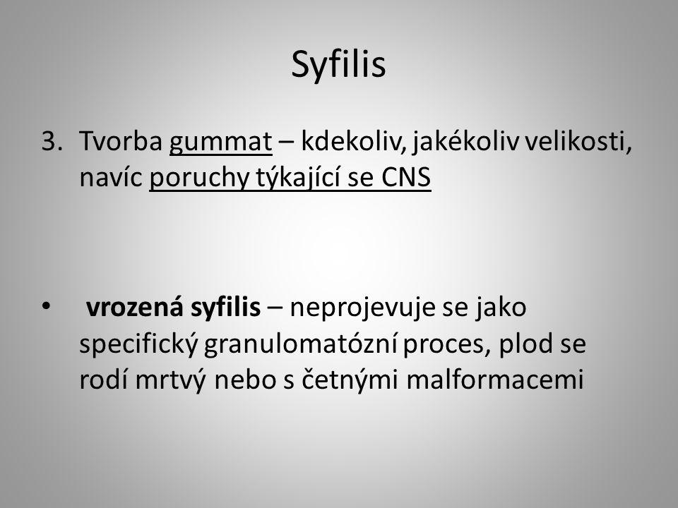 Syfilis 3.Tvorba gummat – kdekoliv, jakékoliv velikosti, navíc poruchy týkající se CNS vrozená syfilis – neprojevuje se jako specifický granulomatózní