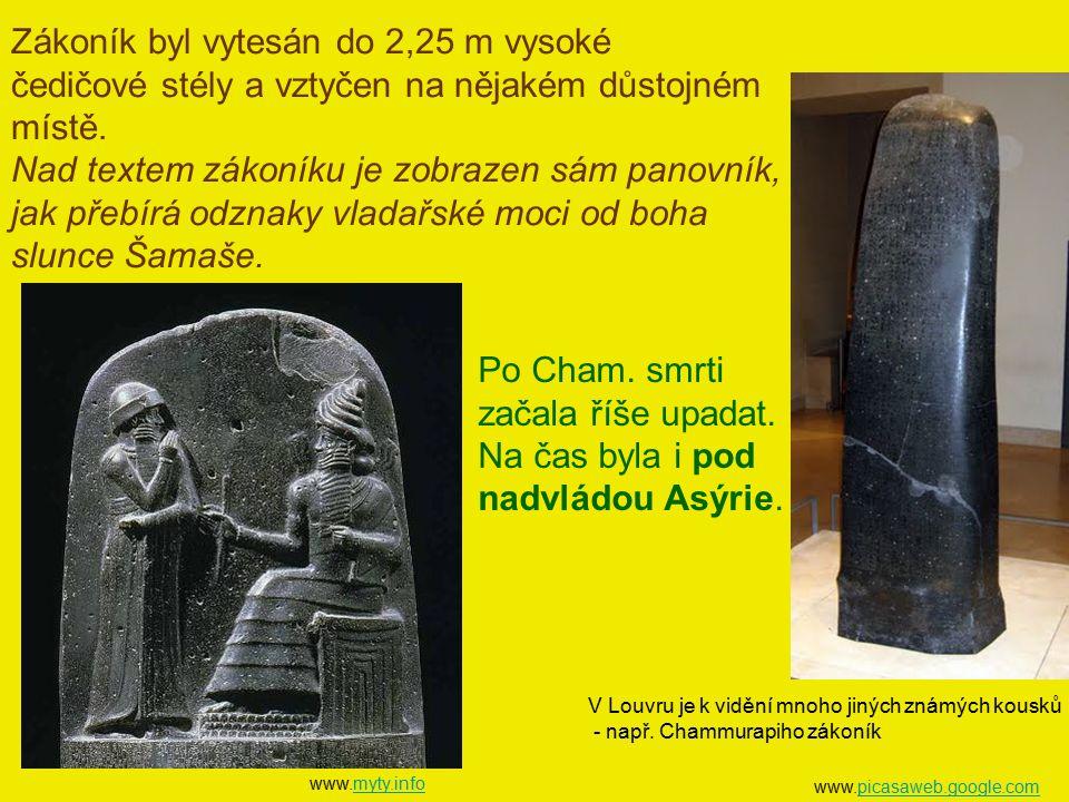www.picasaweb.google.compicasaweb.google.com V Louvru je k vidění mnoho jiných známých kousků - např. Chammurapiho zákoník www.myty.infomyty.info Záko