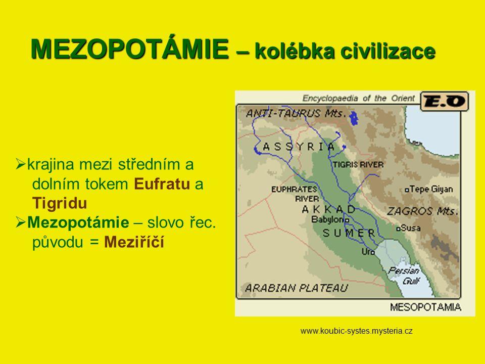 MEZOPOTÁMIE – kolébka civilizace www.koubic-systes.mysteria.cz  krajina mezi středním a dolním tokem Eufratu a Tigridu  Mezopotámie – slovo řec. pův