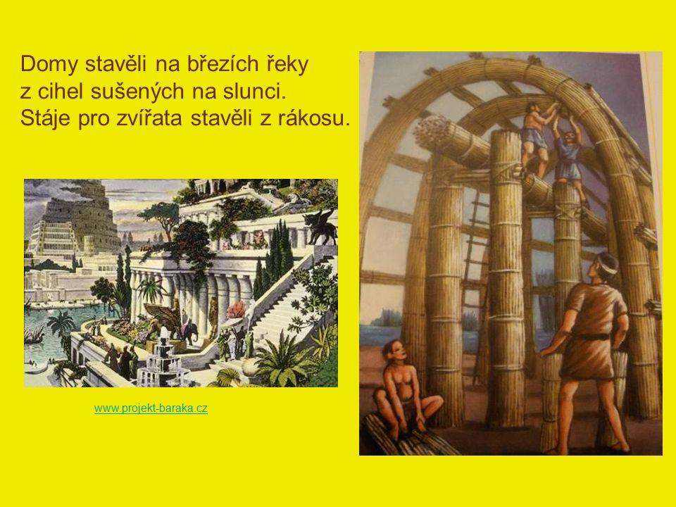 Domy stavěli na březích řeky z cihel sušených na slunci. Stáje pro zvířata stavěli z rákosu. www.projekt-baraka.cz
