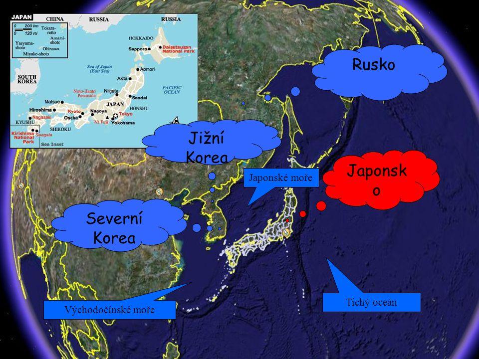 Základní informace o státu Vlajka Japonska (země vycházejícího slunce) Válečná vlajka Japonska Státní znak Japonska (Lotosový květ) Rozloha Japonska: 377 835 km 2 Rozloha ČR: 78 864 km 2 Japonsko je skoro 5x větší než ČR Japonský název: Nippon - země vycházejícího slunce konstituční monarchie hlavní město - Tokio (cca 12.000.000 obyvatel) měna - jen úřední jazyk - japonština od roku 1989 v čele státu císař Akihita