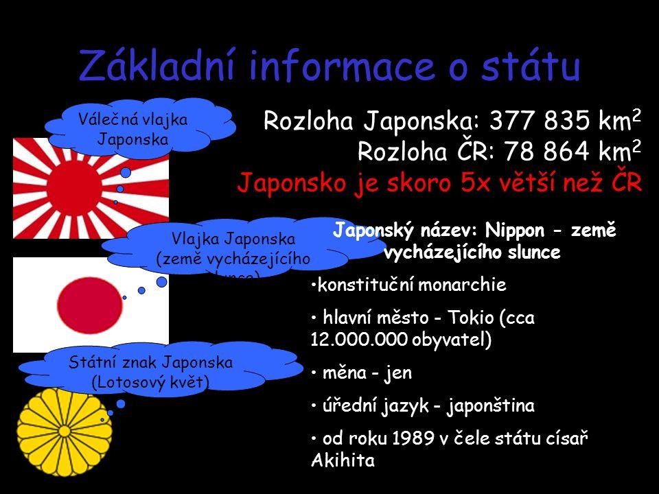 Základní informace o státu Vlajka Japonska (země vycházejícího slunce) Válečná vlajka Japonska Státní znak Japonska (Lotosový květ) Rozloha Japonska: