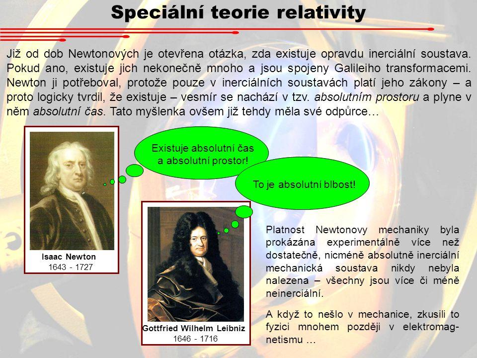 Speciální teorie relativity Již od dob Newtonových je otevřena otázka, zda existuje opravdu inerciální soustava.
