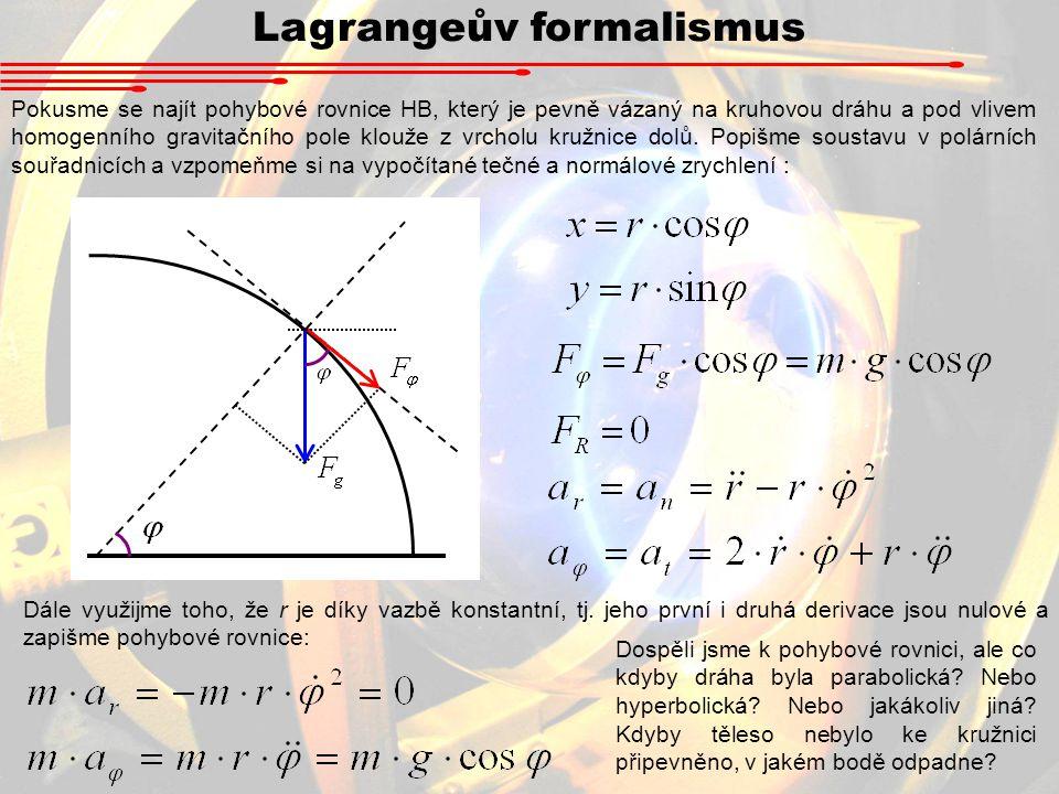 Lagrangeův formalismus Pokusme se najít pohybové rovnice HB, který je pevně vázaný na kruhovou dráhu a pod vlivem homogenního gravitačního pole klouže z vrcholu kružnice dolů.