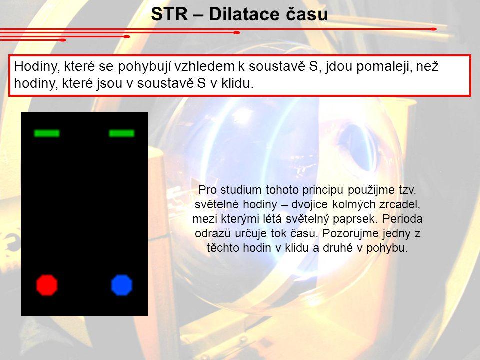 STR – Dilatace času Hodiny, které se pohybují vzhledem k soustavě S, jdou pomaleji, než hodiny, které jsou v soustavě S v klidu.
