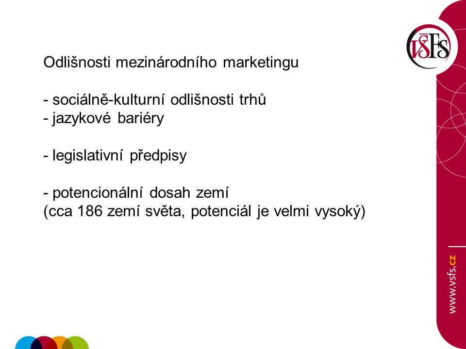 Odlišnosti mezinárodního marketingu - sociálně-kulturní odlišnosti trhů - jazykové bariéry - legislativní předpisy - potencionální dosah zemí (cca 186