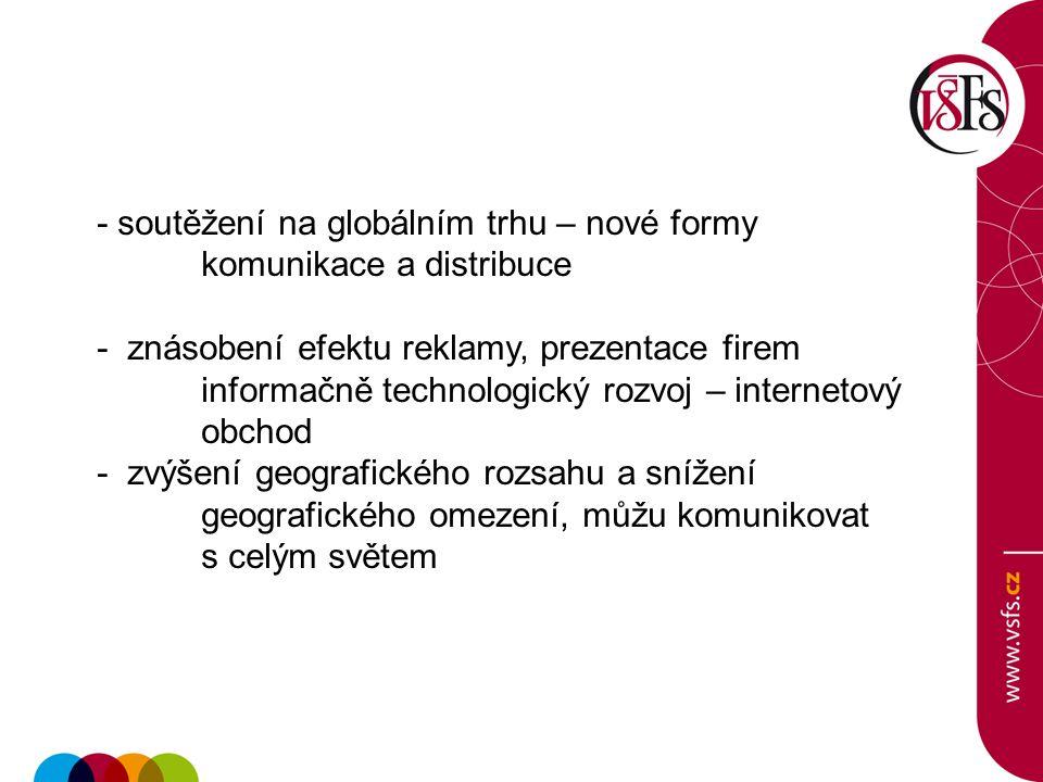 - soutěžení na globálním trhu – nové formy komunikace a distribuce - znásobení efektu reklamy, prezentace firem informačně technologický rozvoj – inte