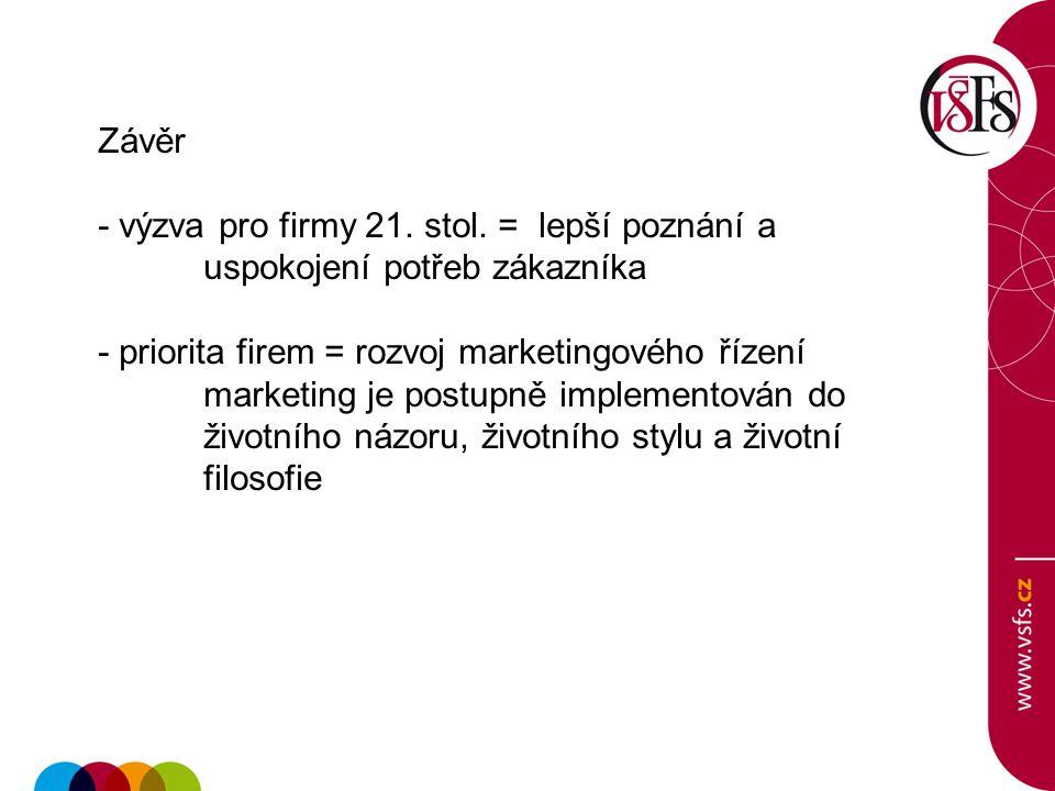 Závěr - výzva pro firmy 21. stol. = lepší poznání a uspokojení potřeb zákazníka - priorita firem = rozvoj marketingového řízení marketing je postupně