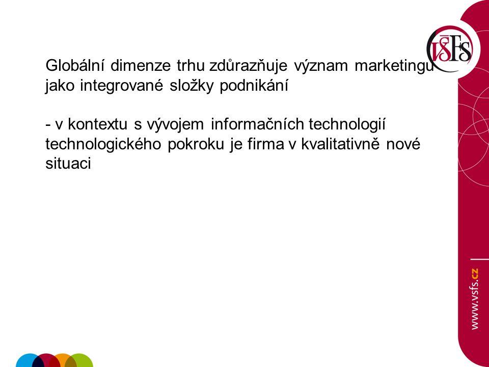 Globální dimenze trhu zdůrazňuje význam marketingu jako integrované složky podnikání - v kontextu s vývojem informačních technologií technologického p