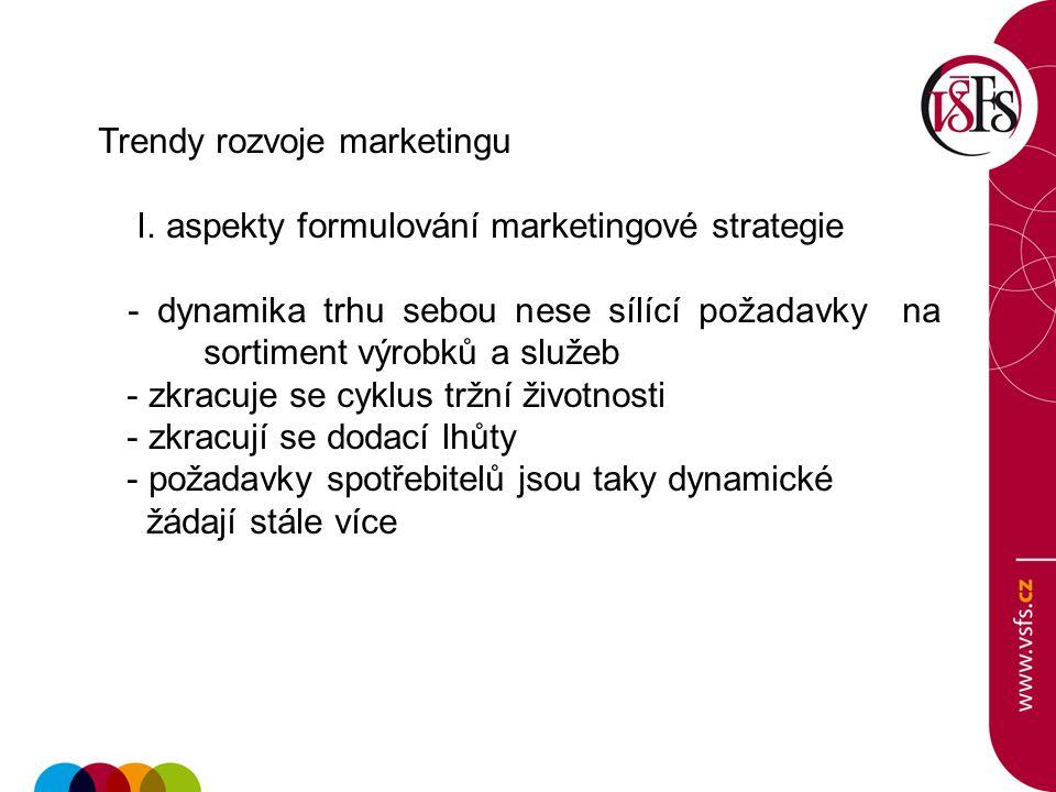 Trendy rozvoje marketingu I. aspekty formulování marketingové strategie - dynamika trhu sebou nese sílící požadavky na sortiment výrobků a služeb - zk