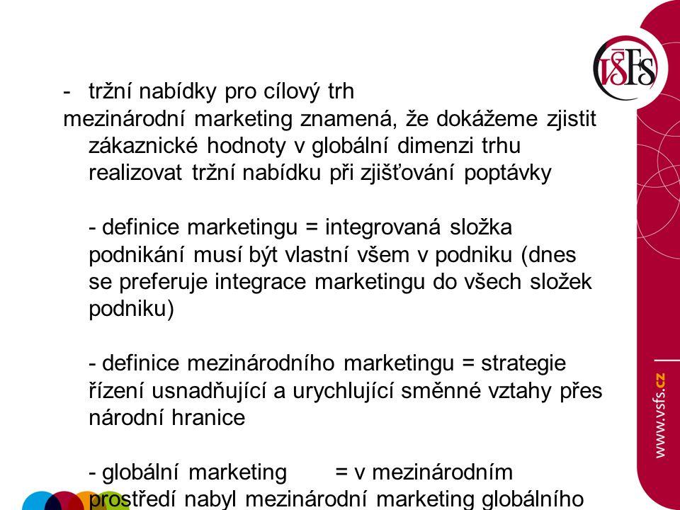 -tržní nabídky pro cílový trh mezinárodní marketing znamená, že dokážeme zjistit zákaznické hodnoty v globální dimenzi trhu realizovat tržní nabídku p