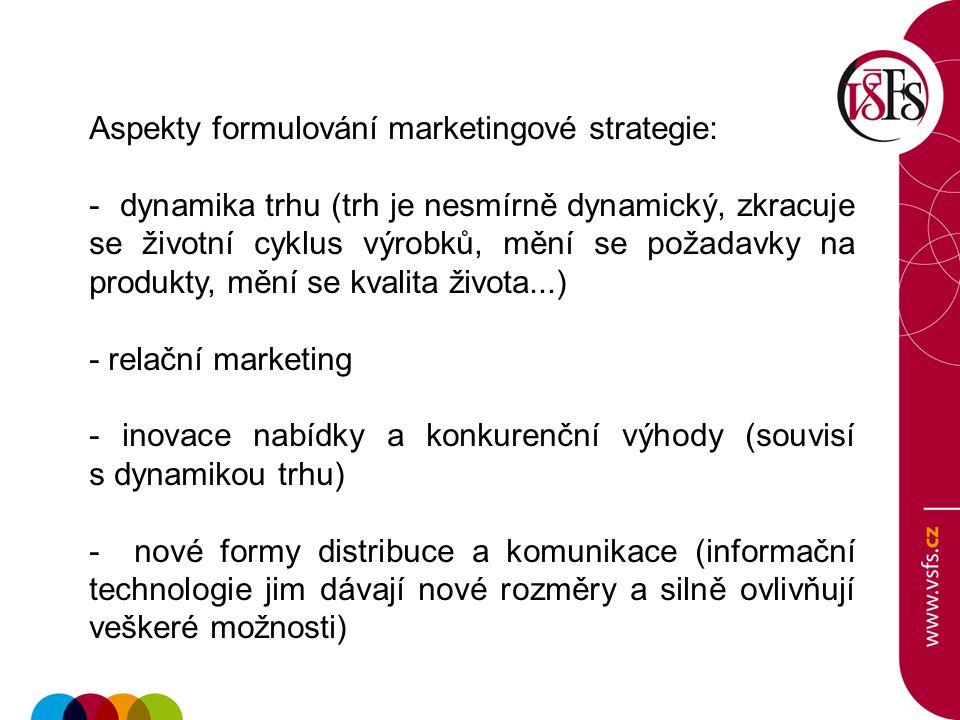 Aspekty formulování marketingové strategie: - dynamika trhu (trh je nesmírně dynamický, zkracuje se životní cyklus výrobků, mění se požadavky na produ