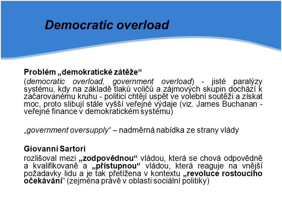 """Problém """"demokratické zátěže (democratic overload, government overload) - jisté paralýzy systému, kdy na základě tlaků voličů a zájmových skupin dochází k začarovanému kruhu - politici chtějí uspět ve volební soutěži a získat moc, proto slibují stále vyšší veřejné výdaje (viz."""