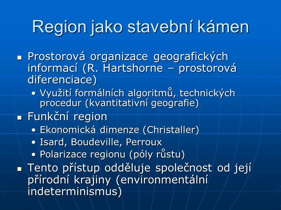 Region jako stavební kámen Prostorová organizace geografických informací (R. Hartshorne – prostorová diferenciace) Prostorová organizace geografických