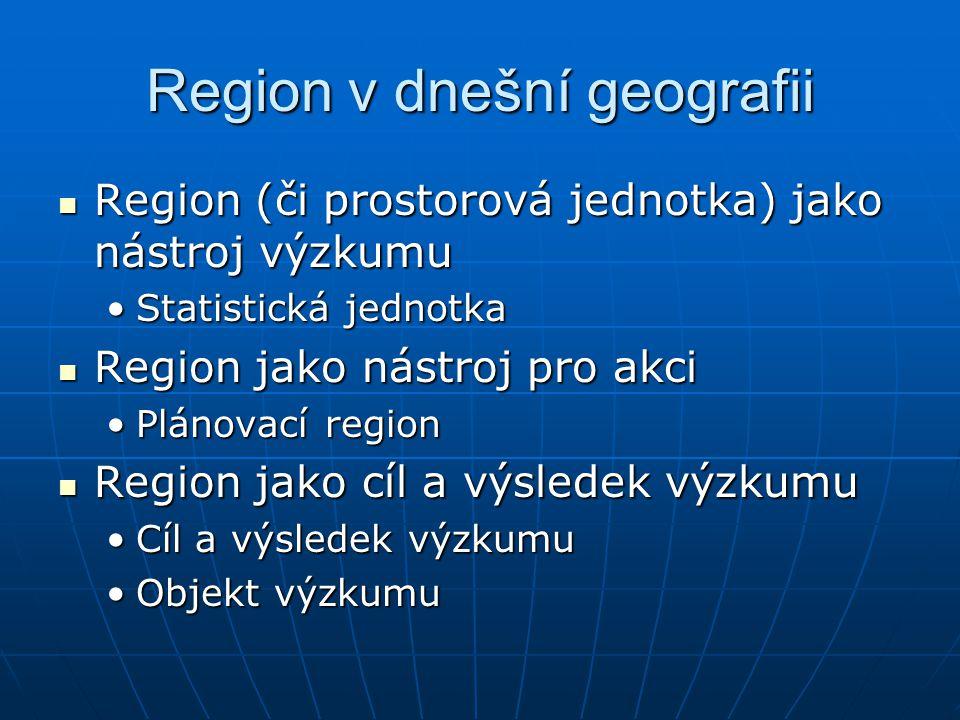 Region v dnešní geografii Region (či prostorová jednotka) jako nástroj výzkumu Region (či prostorová jednotka) jako nástroj výzkumu Statistická jednot