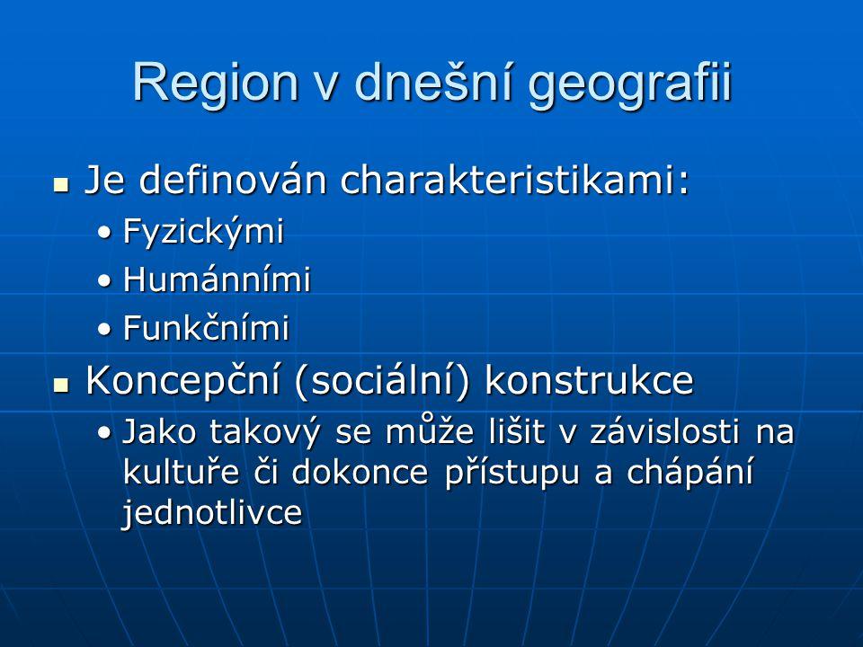Region v dnešní geografii Je definován charakteristikami: Je definován charakteristikami: FyzickýmiFyzickými HumánnímiHumánními FunkčnímiFunkčními Kon