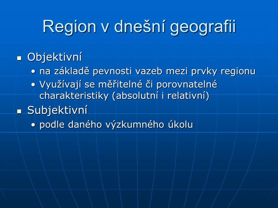 Region v dnešní geografii Objektivní Objektivní na základě pevnosti vazeb mezi prvky regionuna základě pevnosti vazeb mezi prvky regionu Využívají se