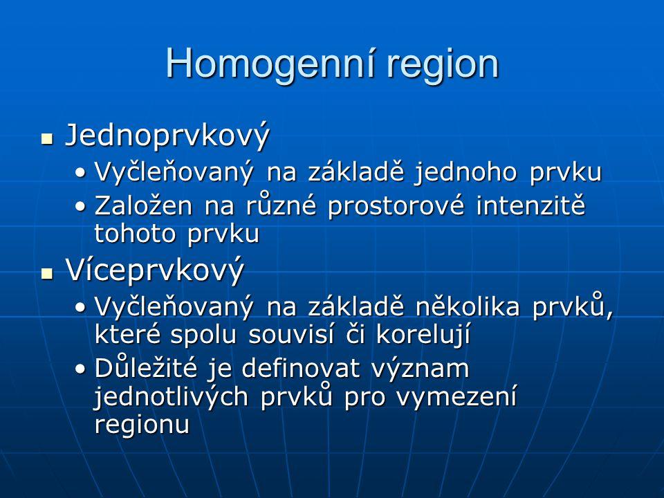 Homogenní region Jednoprvkový Jednoprvkový Vyčleňovaný na základě jednoho prvkuVyčleňovaný na základě jednoho prvku Založen na různé prostorové intenz