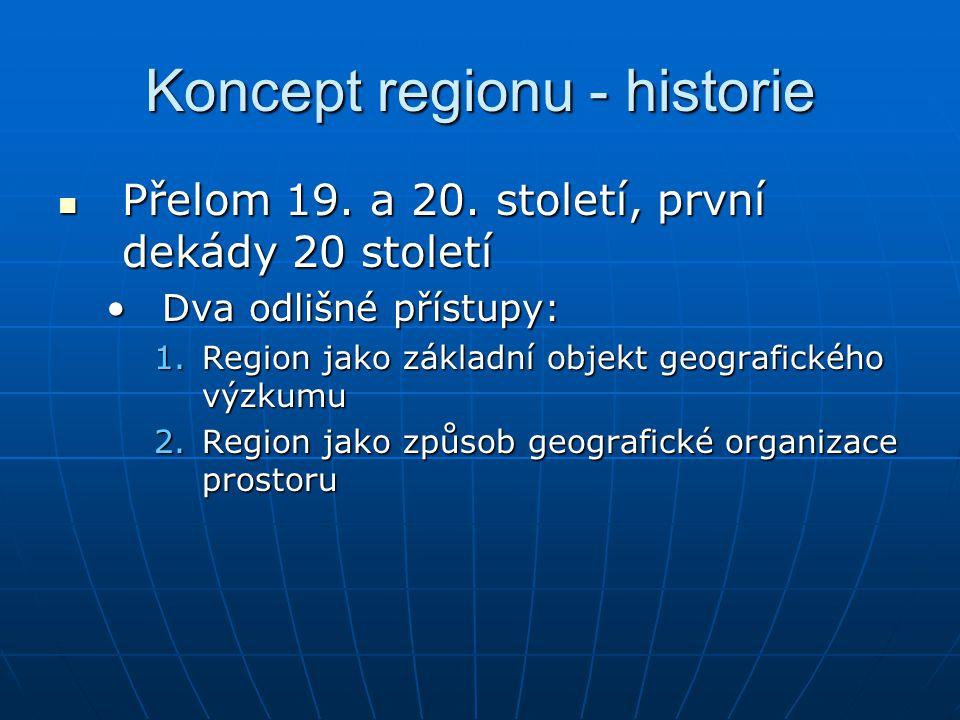 Region v dnešní geografii Jistým způsobem respektují historii přístupů ke konceptu regionu Jistým způsobem respektují historii přístupů ke konceptu regionu Homogenní (formální) Homogenní (formální) Zkoumaný jev dosahuje v celé ploše regionu stejných hodnot (nebrat doslova!!!)Zkoumaný jev dosahuje v celé ploše regionu stejných hodnot (nebrat doslova!!!) Nesmírně důležité je definovat jeho hierarchickou úroveňNesmírně důležité je definovat jeho hierarchickou úroveň Nodální Nodální Je definován vztahy mezi jeho různými částmi a jedním nebo více ohniskovými body (nody, centry)Je definován vztahy mezi jeho různými částmi a jedním nebo více ohniskovými body (nody, centry)
