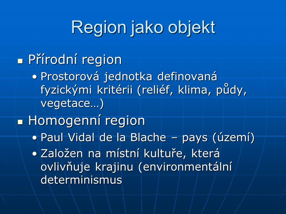 Region jako objekt Přírodní region Přírodní region Prostorová jednotka definovaná fyzickými kritérii (reliéf, klima, půdy, vegetace…)Prostorová jednot