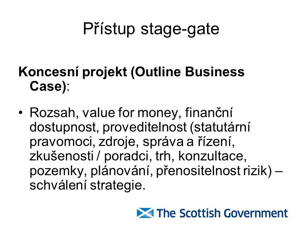 Přístup stage-gate Koncesní projekt (Outline Business Case): Rozsah, value for money, finanční dostupnost, proveditelnost (statutární pravomoci, zdroj