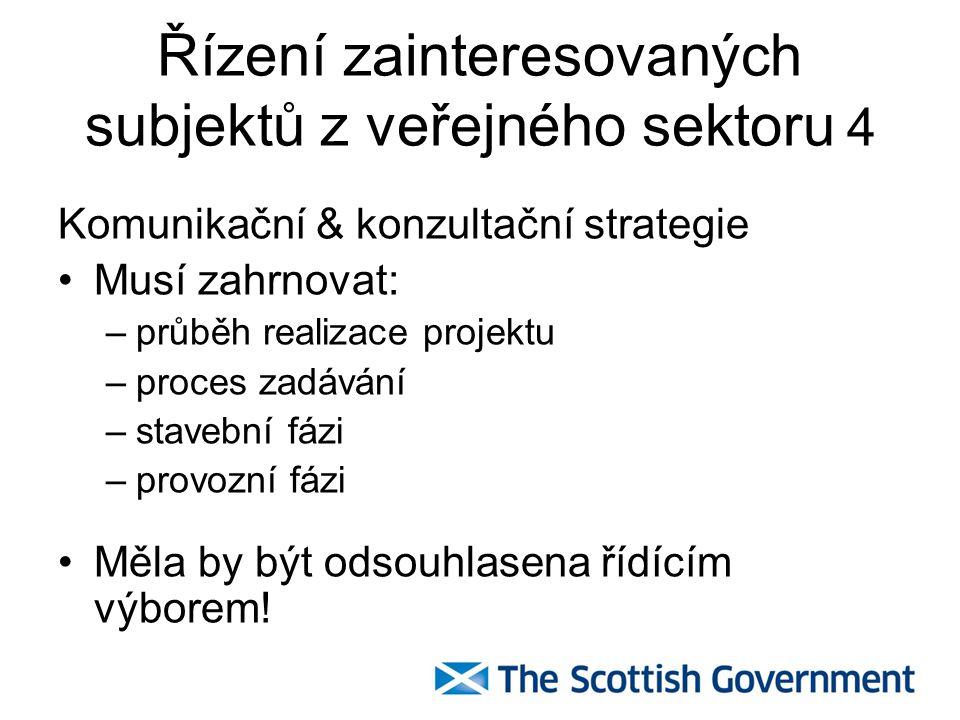 Řízení zainteresovaných subjektů z veřejného sektoru 4 Komunikační & konzultační strategie Musí zahrnovat: –průběh realizace projektu –proces zadávání