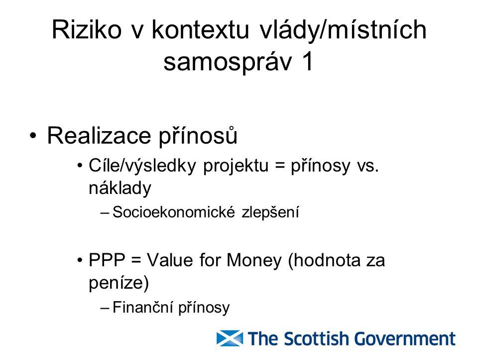Riziko v kontextu vlády/místních samospráv 1 Realizace přínosů Cíle/výsledky projektu = přínosy vs. náklady –Socioekonomické zlepšení PPP = Value for