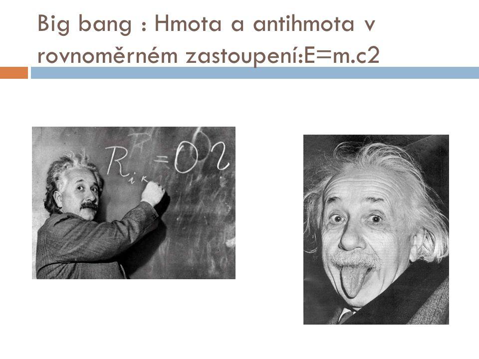 Big bang : Hmota a antihmota v rovnoměrném zastoupení:E=m.c2