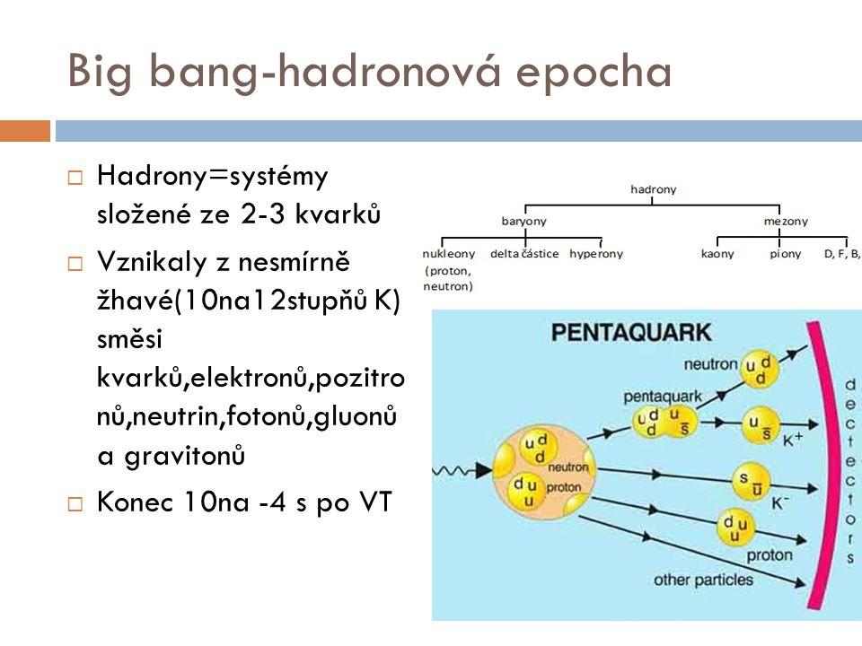 Big bang-hadronová epocha  Hadrony=systémy složené ze 2-3 kvarků  Vznikaly z nesmírně žhavé(10na12stupňů K) směsi kvarků,elektronů,pozitro nů,neutri