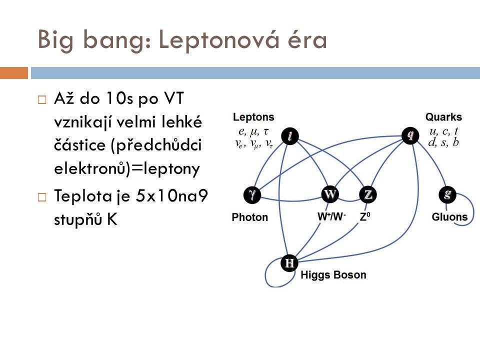 Big bang: Leptonová éra  Až do 10s po VT vznikají velmi lehké částice (předchůdci elektronů)=leptony  Teplota je 5x10na9 stupňů K