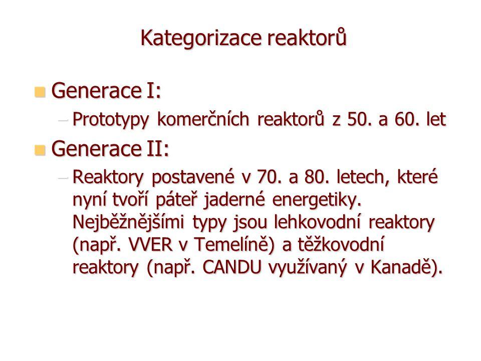 Kategorizace reaktorů Kategorizace reaktorů Generace I: Generace I: –Prototypy komerčních reaktorů z 50.