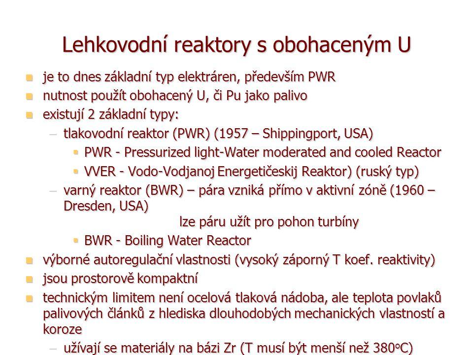 Lehkovodní reaktory s obohaceným U je to dnes základní typ elektráren, především PWR je to dnes základní typ elektráren, především PWR nutnost použít obohacený U, či Pu jako palivo nutnost použít obohacený U, či Pu jako palivo existují 2 základní typy: existují 2 základní typy: –tlakovodní reaktor (PWR) (1957 – Shippingport, USA)  PWR - Pressurized light-Water moderated and cooled Reactor  VVER - Vodo-Vodjanoj Energetičeskij Reaktor) (ruský typ) –varný reaktor (BWR) – pára vzniká přímo v aktivní zóně (1960 – Dresden, USA) lze páru užít pro pohon turbíny  BWR - Boiling Water Reactor výborné autoregulační vlastnosti (vysoký záporný T koef.