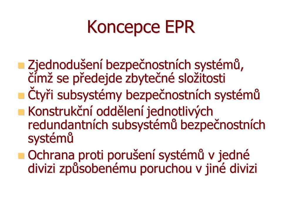 Koncepce EPR Zjednodušení bezpečnostních systémů, čímž se předejde zbytečné složitosti Zjednodušení bezpečnostních systémů, čímž se předejde zbytečné složitosti Čtyři subsystémy bezpečnostních systémů Čtyři subsystémy bezpečnostních systémů Konstrukční oddělení jednotlivých redundantních subsystémů bezpečnostních systémů Konstrukční oddělení jednotlivých redundantních subsystémů bezpečnostních systémů Ochrana proti porušení systémů v jedné divizi způsobenému poruchou v jiné divizi Ochrana proti porušení systémů v jedné divizi způsobenému poruchou v jiné divizi