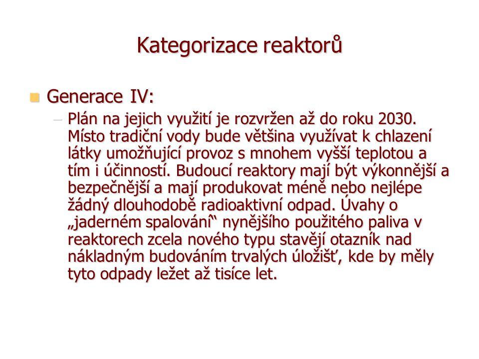 Kategorizace reaktorů Generace IV: Generace IV: –Plán na jejich využití je rozvržen až do roku 2030.