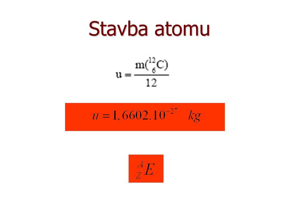 Stavba atomu Atomové číslo: Hmotnostní nukleonové číslo: